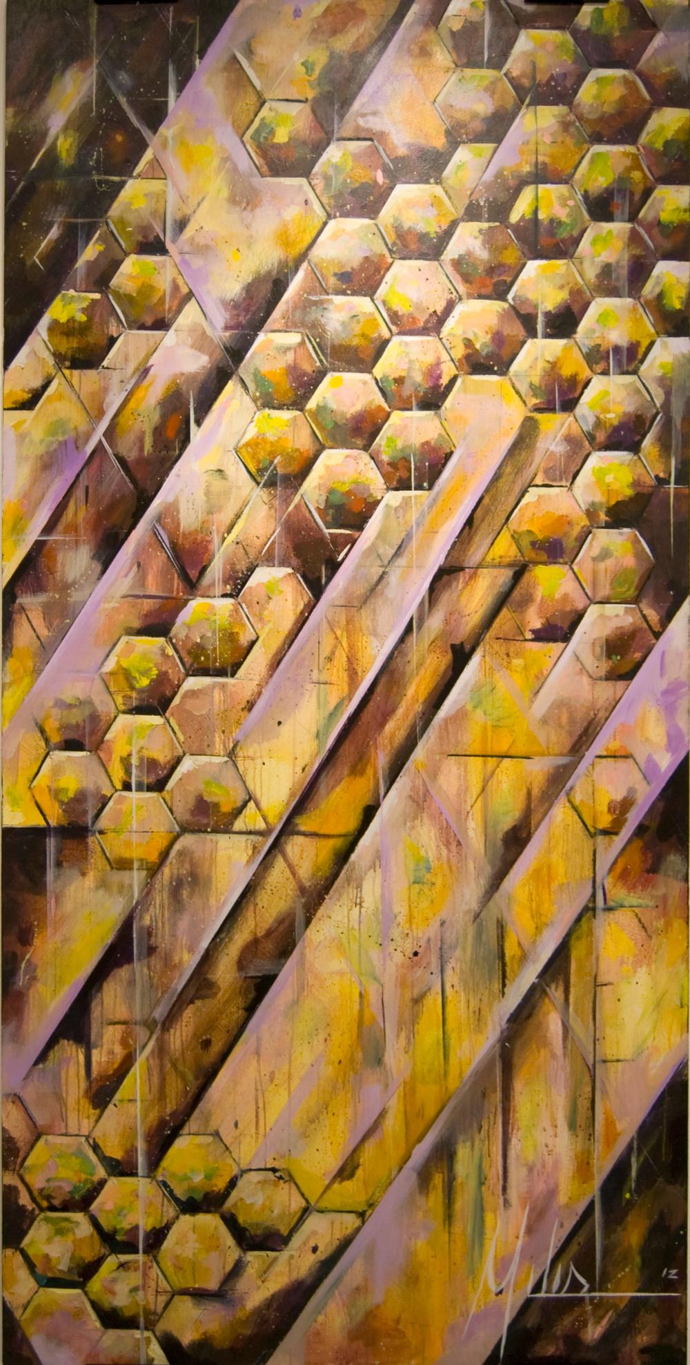 """""""Colony Collapse II""""  acrylic on wood panel  48"""" x 96""""  2012  $2600"""