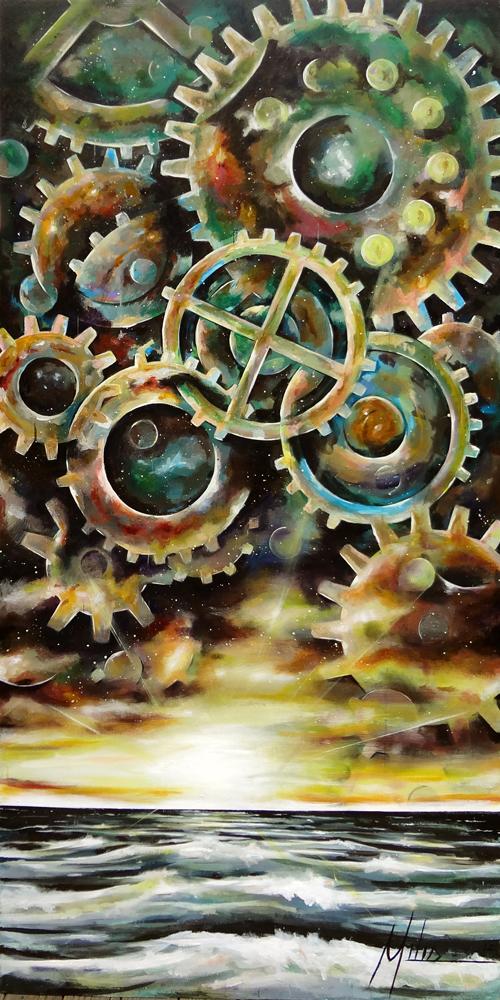 """""""Gears of Sunset II""""                                                 acrylic on wood panel  48"""" x 96""""  2012  $2600"""