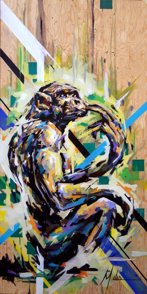 """""""Genome""""  acrylic on wood panel  48"""" x 96""""  2012  $2800"""