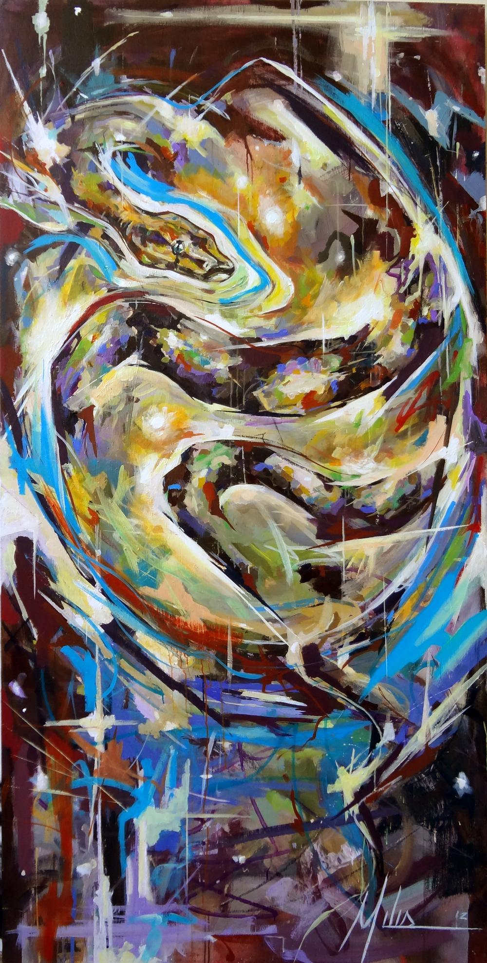 """""""Cosmic Egg""""  acrylic on wood panel  48"""" x 96""""  2012  $2400"""