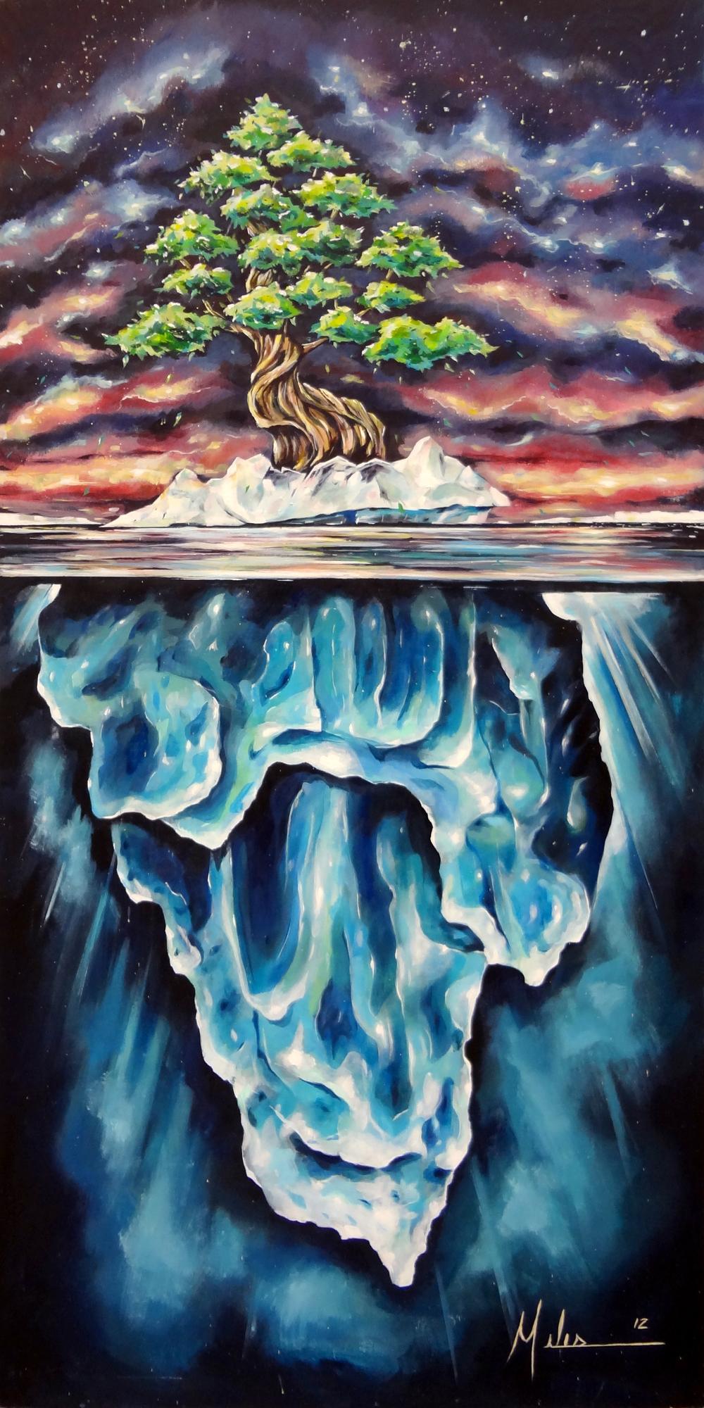 """""""Glaciation""""  Acrylic on wood panel  48"""" x 96""""  2012  $3000"""