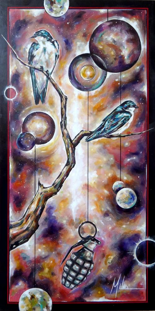 """""""Origins II""""  acrylic on wood panel  48"""" x 96""""  2012  $2600"""