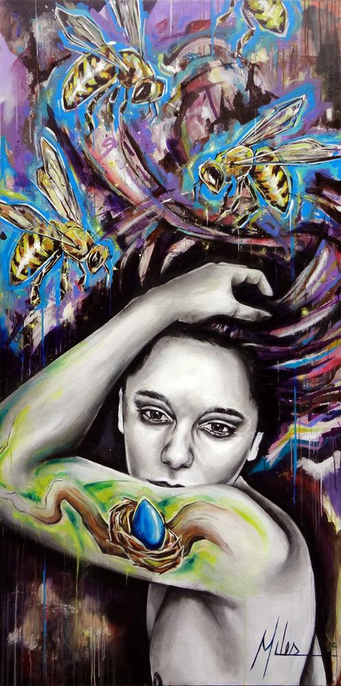 """""""Siren Song (The Dance)""""  acrylic on wood panel  48"""" x 96""""  2012  $3000"""
