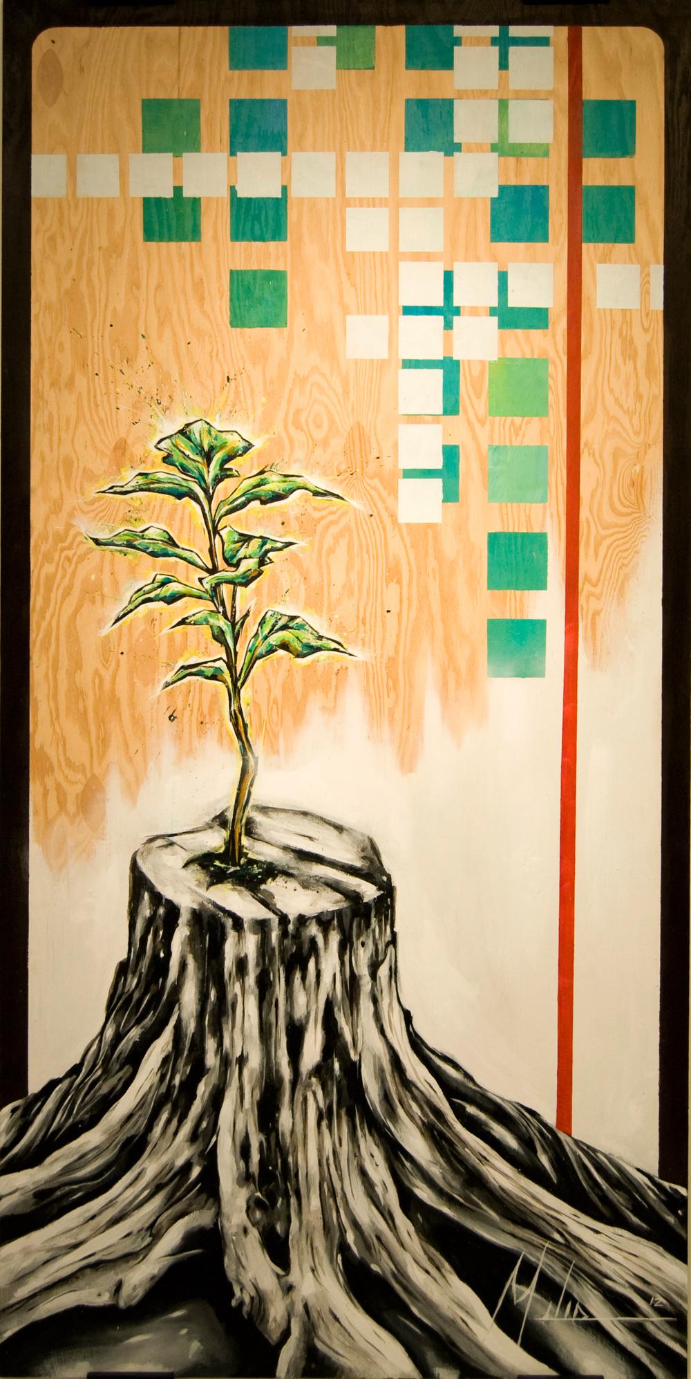 """""""Regeneration II""""  acrylic on wood panel  48"""" x 96""""  2012  $2600"""
