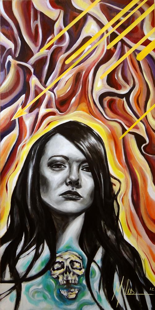"""""""Siren Song (The Ecstasy)""""  acrylic on wood panel  48"""" x 96""""  2012  $3000"""