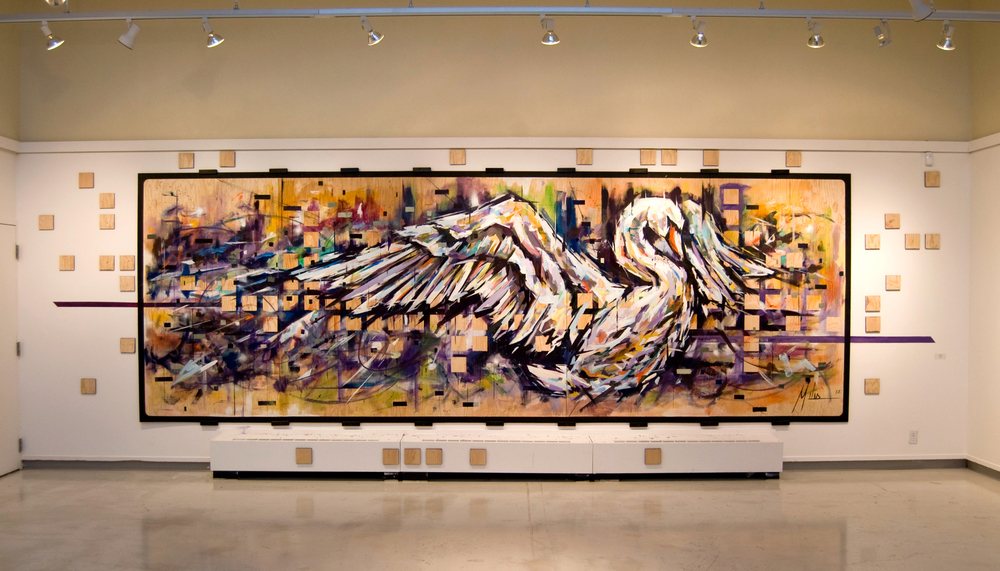 """Swan Song""  acrylic on wood panel  240"" x 84""  2012  $7000"