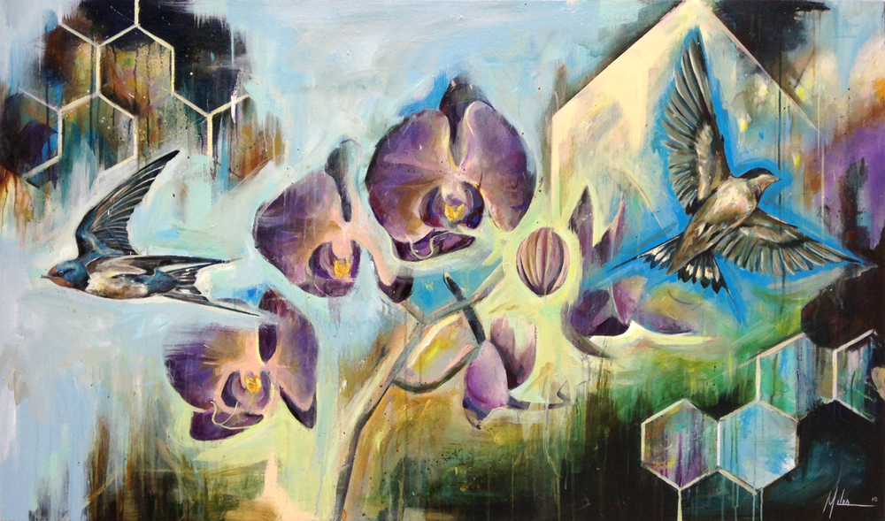 """Pilgrimage""  acrylic on canvas  36"" x 60""  2015"