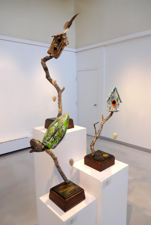 """""""Sanctuary I - III""""  acrylic, wood, feather  2015"""