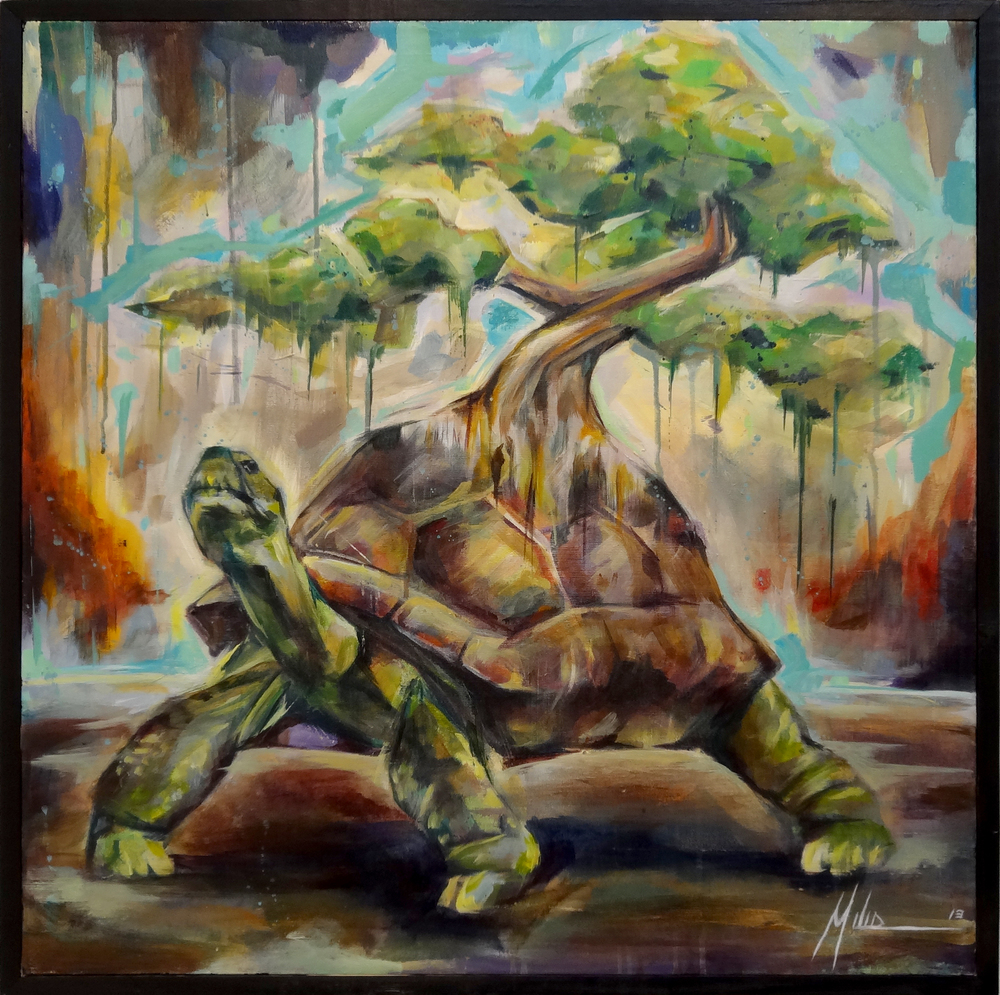 "World Tortoise  acrylic on canvas  30"" x 30""  2013"