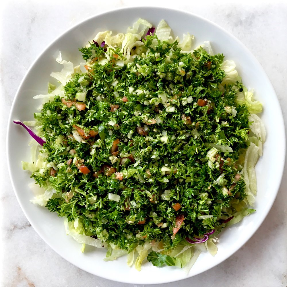 Tabbouleh Salad - Tabbouleh, the famous Levantine salad that is loved by all. However, it is rare to find tabbouleh prepared the right way. My recipe will take you step by step to make tabbouleh that is flavorful and juicy while still keeping the salad from becoming a soggy and wet mess.