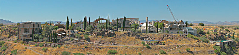 Panorama overlooking the town of Arcosanti.