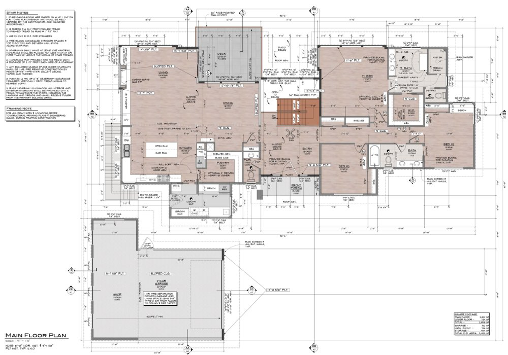 The floor plan of a custom residence that contains a lot of technical information, but also  begins to convey a sense of the space.