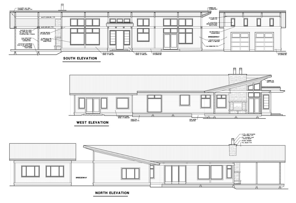 The elevations of the 'Aldergrove Residence' drawn in a 2D program.