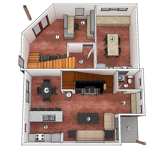 Building 1 First Floor Plan_(1) Office Entry (2) Reception (3) Office Bathroom (4) Conference Room (5) Townhouse Covered Porch (6) Entry (7) Bathroom (8) Living (9) Kitchen (10) Dining (11) Storage