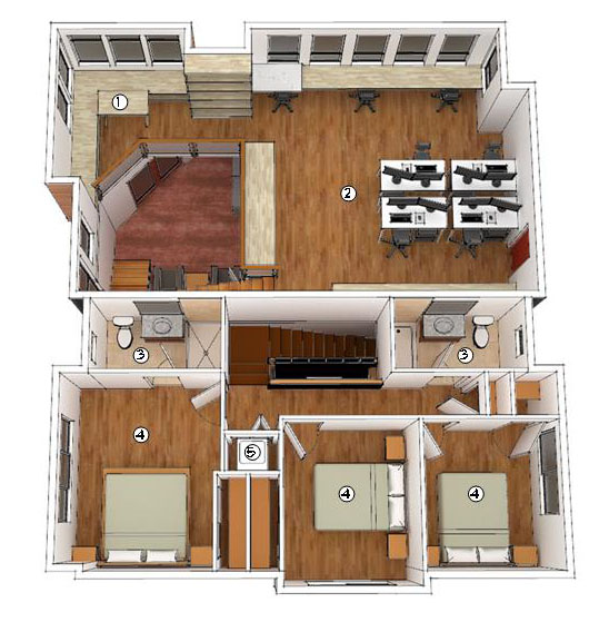 Building 1 Second Floor Plan (1) Office Library (2) Workspace (3)Townhouse Bathroom (4) Bedroom (5) Laundry