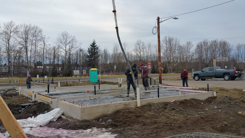 The slabs being poured