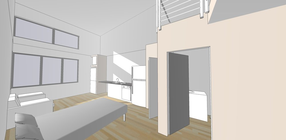 View of a third floor lofted studio as seen from the 3d model created by Haven