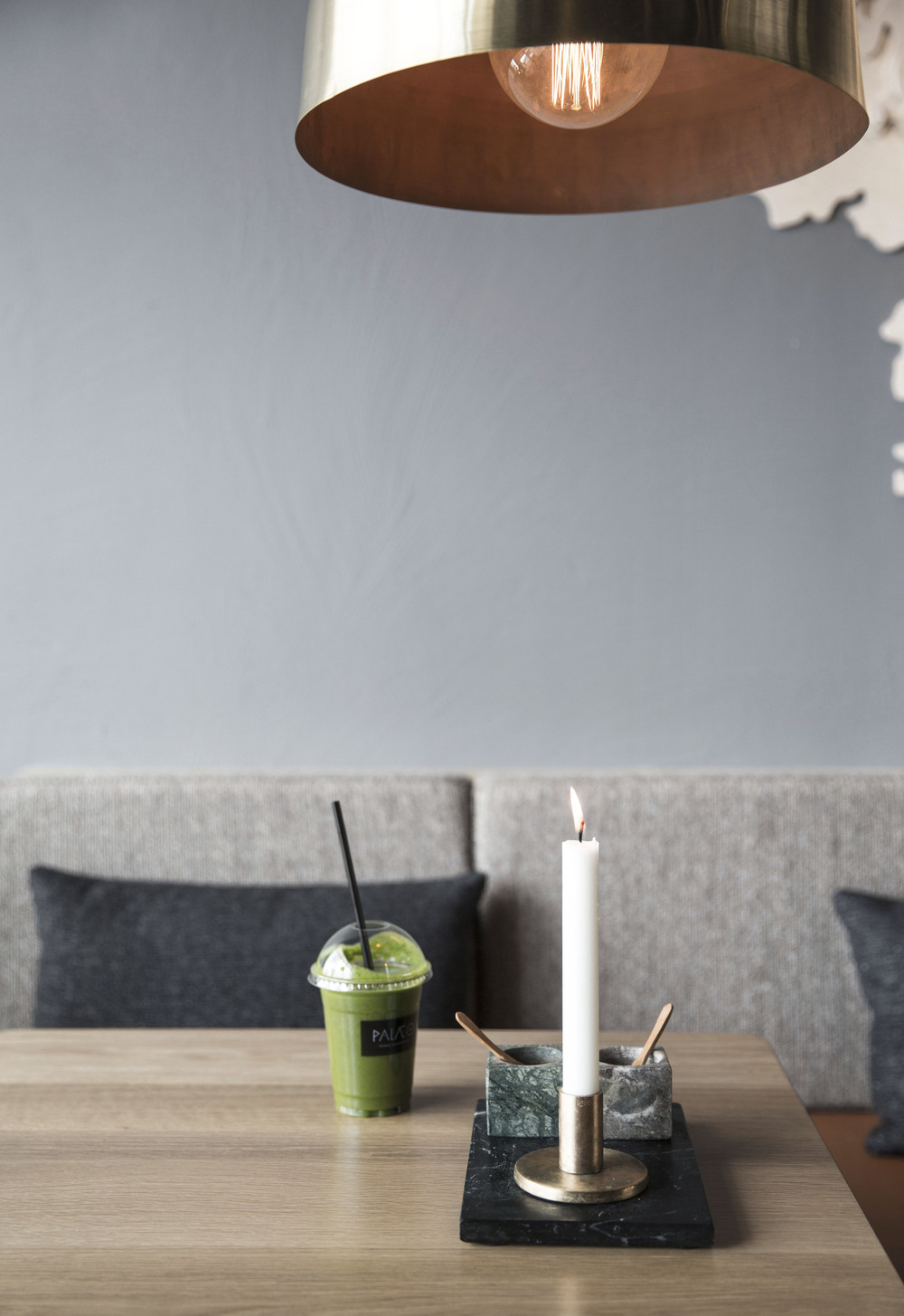 A healthy smoothie on table at Palæo restaurant in Copenhagen