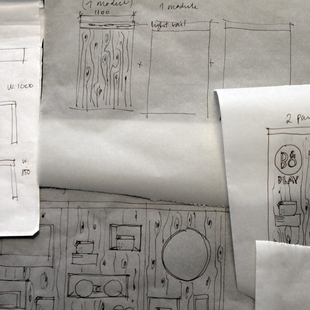 Sketches of the initial concept for the B&O Play store design