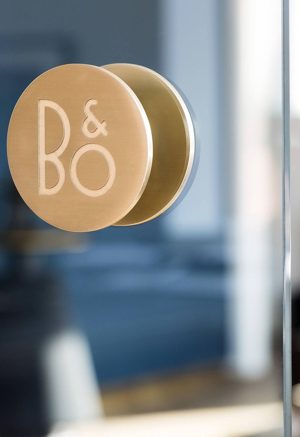Close-up shot of door handle at B&O store