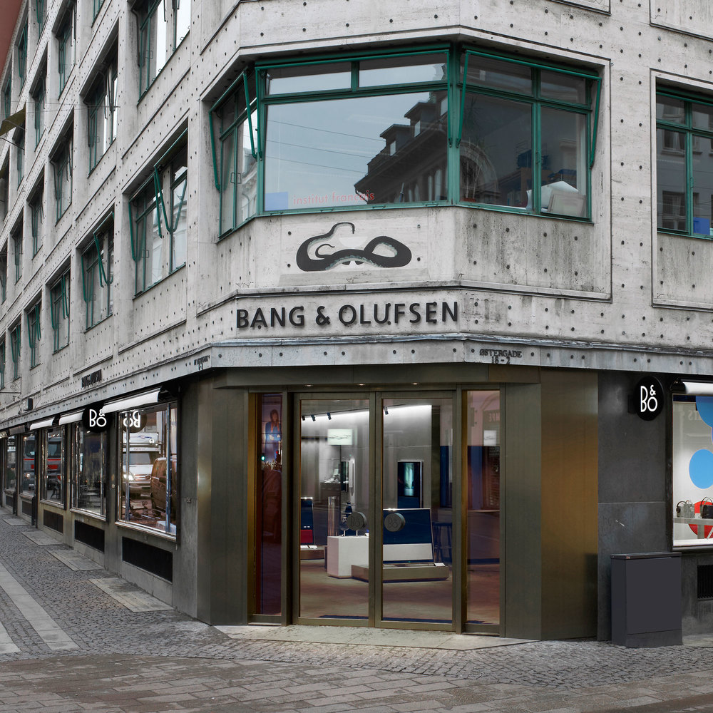 Corner entrance to the B&O store on Strøget in Copenhagen with Bang & Olufsen logo above the door