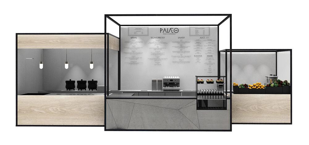View on the counter and bar designed for the Palæo restaurants Copenhagen, Denmark