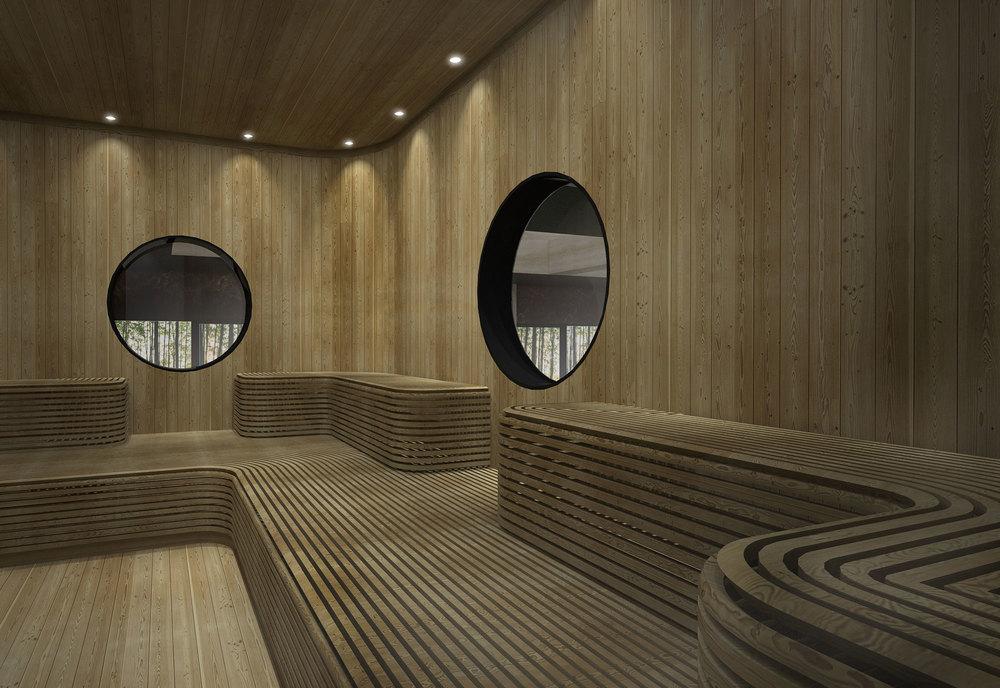 Minimalistic sauna designed for Villa Zhao