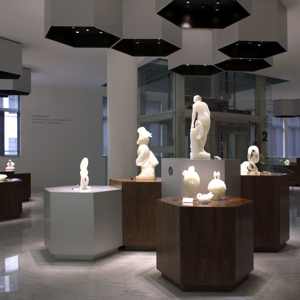 Exhibition design displaying Chinese onyx art