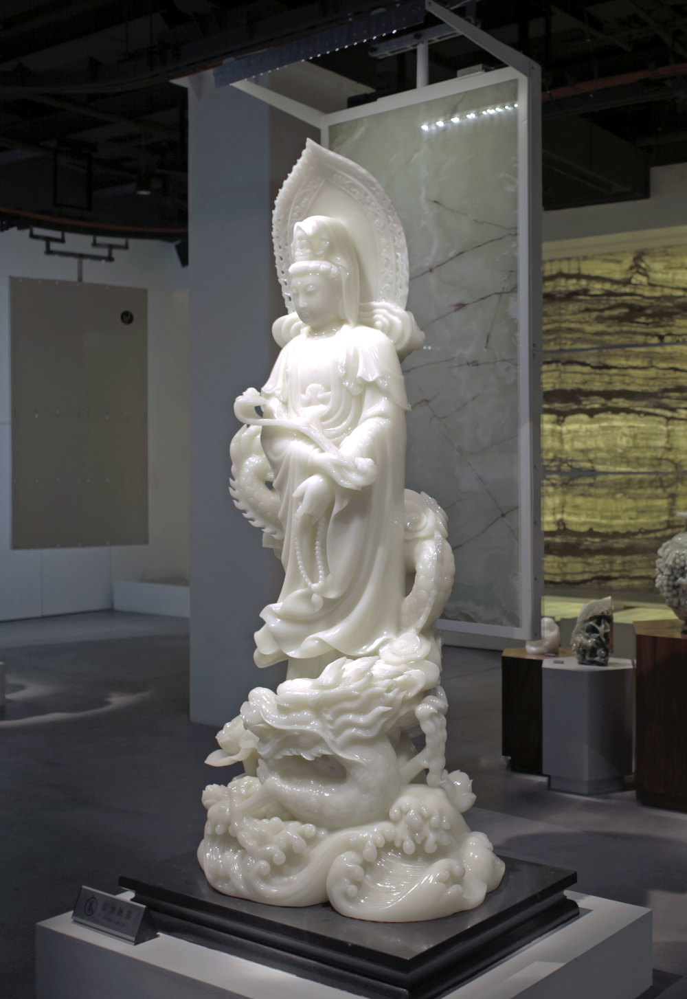 Chinese sculpture made of white onyx displayed at the Skyword Showroom