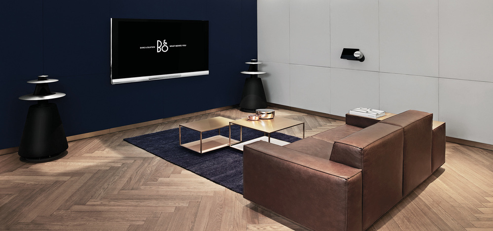 Bang & Olufsen TV and loudspeakers shown in Copenhagen store with custom-designed furniture by Johannes Torpe
