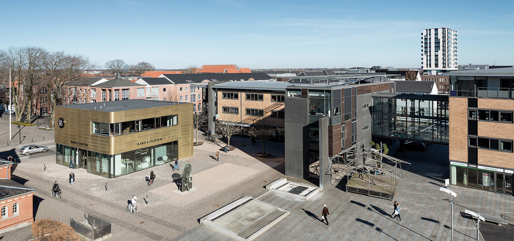 B&O NEXUS Flagship store in Herning photographed from a bird-eye perspective