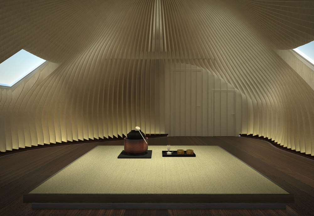 Meditation room at the Chitra Tea House with interior design by Johannes Torpe Studios