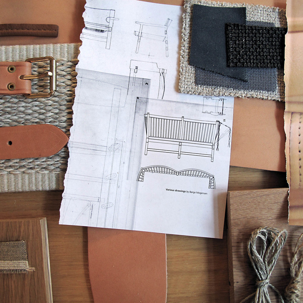Collage of the materials used for Fredericiacushion design