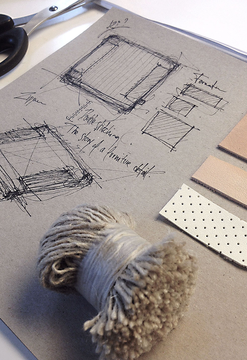 Design sketch and materials used for the Double Stitch Cushion