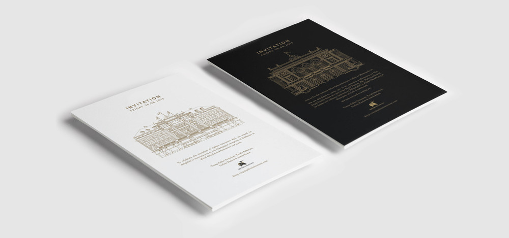 Invitation cards for internal event of Gefion insurance with graphic design by Johannes Torpe Studios