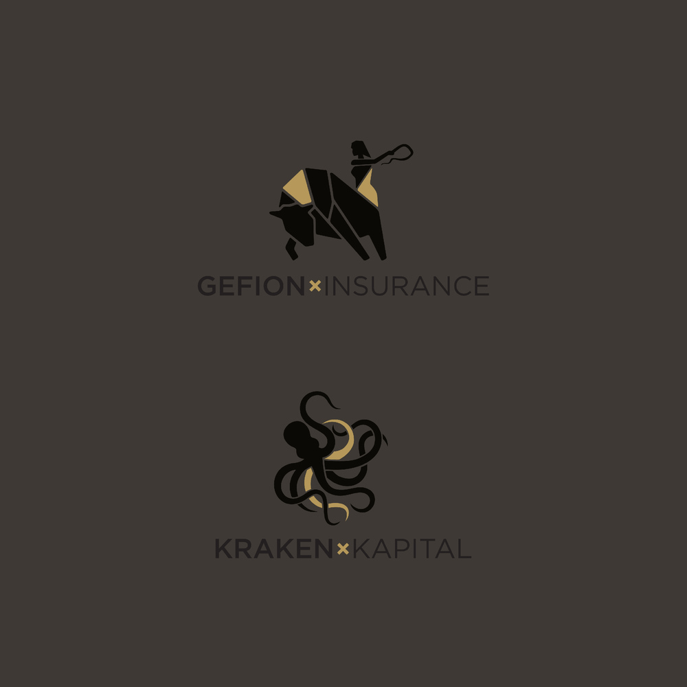 Graphic design of logos for Gefion insurance and Kraken Kapital as part of the companies' brand identity