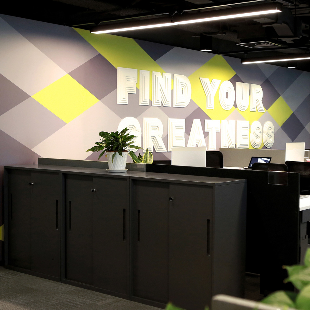 Brand installation for Nike office in Beijing displaying the quote 'find your greatness'