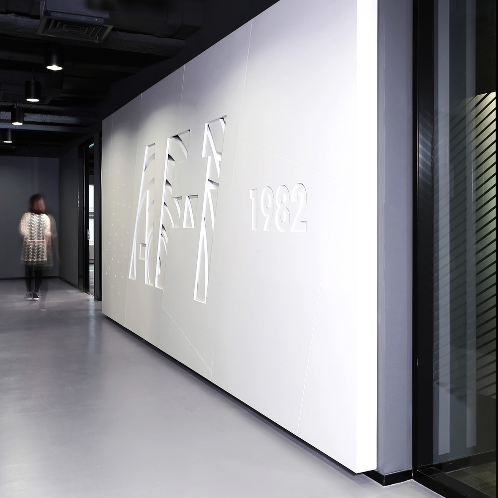 Brand installation at Nike office in Beijing representing the Nike sneaker Airforce 1982