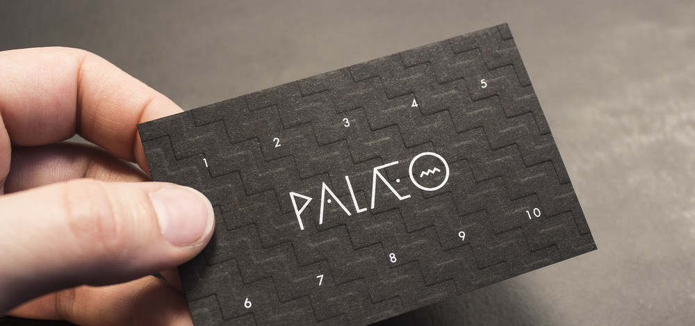 Fully embossed and screen-printed loyalty cards for Palæo restautant chain.