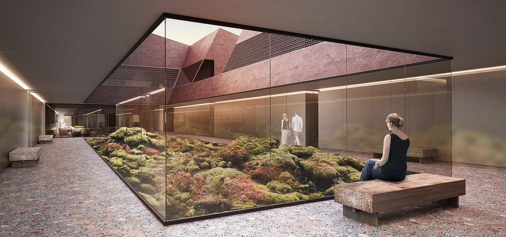 Interior Design - Hotel Courtyard with Glass Walls