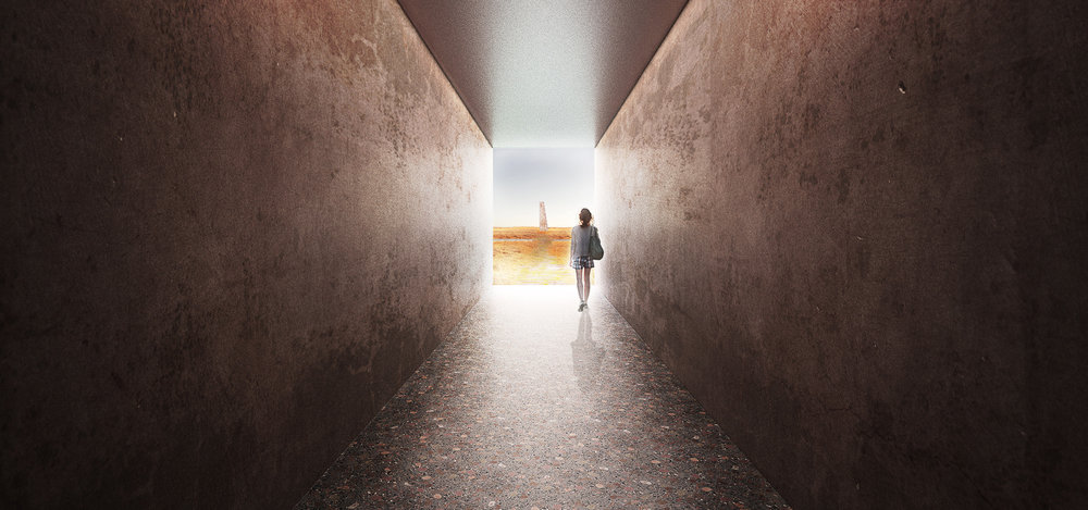 Woman walking through the red mountain resort concrete tunnel