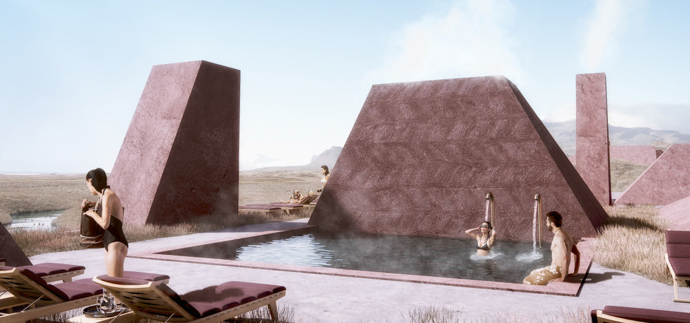 Spa Rooftop Pool - Steam Chimneys - Exterior Design
