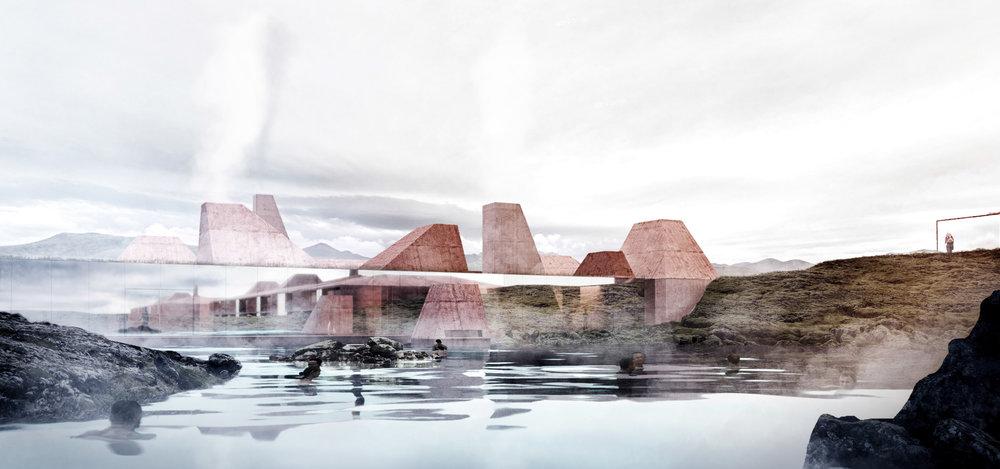 Islandic Landspace - Red Mountain Lagoon