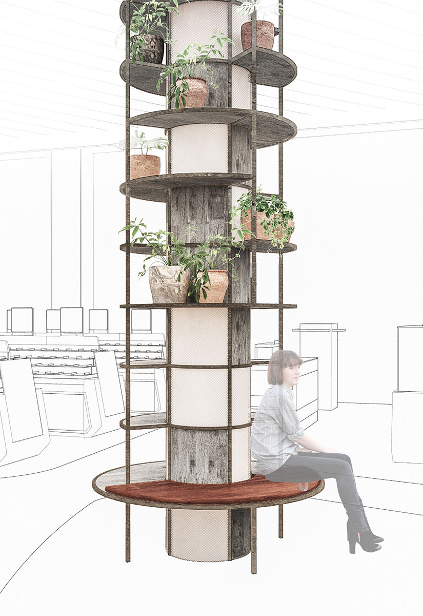 Space separating shelving system incorporated in a column designed by Johannes Torpe Studios