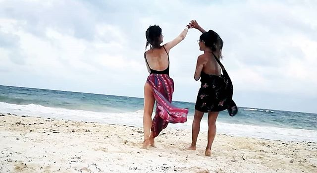 Elles & Luie, Tulum | Dancing on the sand with Kenny #bodysuit (left) 👯 #luie #essentials #details #fabric #lace