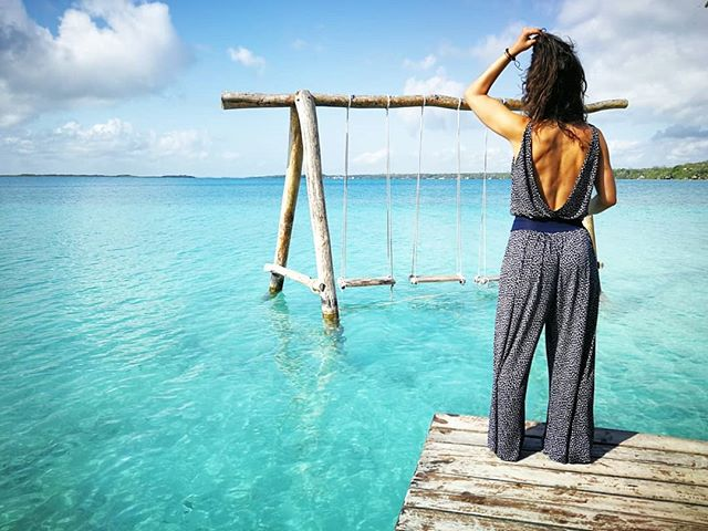 Dina & Luie, Bacalar | Enjoying the amazing view of the laguna with Jo #jumpsuit 💙 #luie #essentials #details #fabric #lace