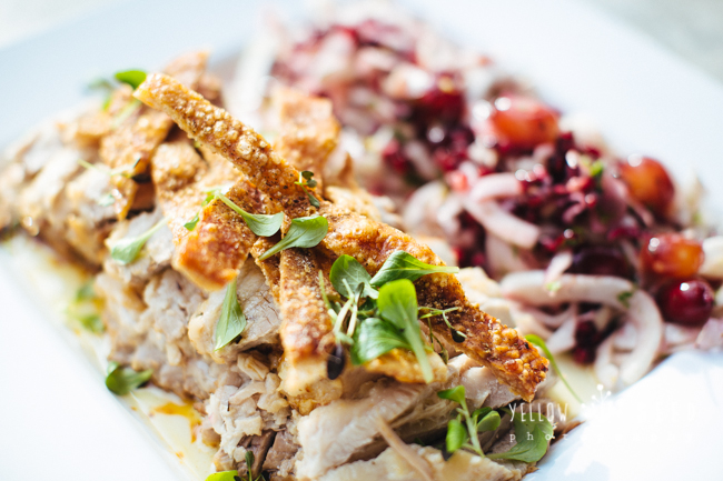 Slow roasted pork belly in honey, fennel with pomegranate fennel salad