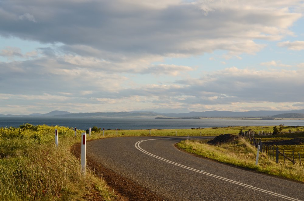 A bend in the road on Tasmania's Great Eastern Drive
