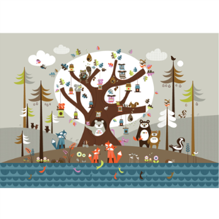 Oak Tree wall mural by Isak.com. Scandinavians seem to do this sort of silouette book illustrationbest.