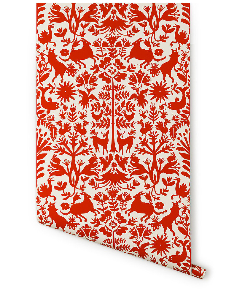 Otomi wallpaper, by Emily Isabella. Gorgeous Folk Art stylebut overpoweringlyred.Accent wall or interior of a cupboard could be perfect.